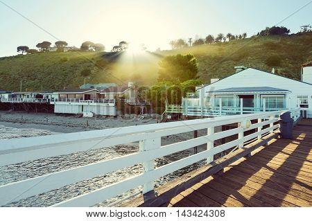 Malibu Pier Malibu California USA in a sunny day