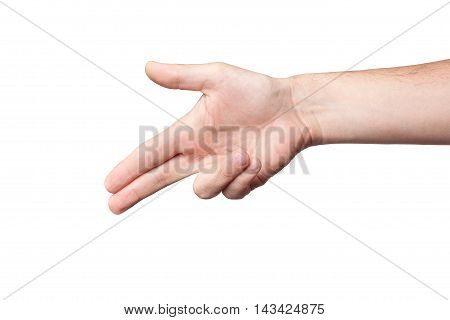 Man's Hand Shoots Fingers On A White Background