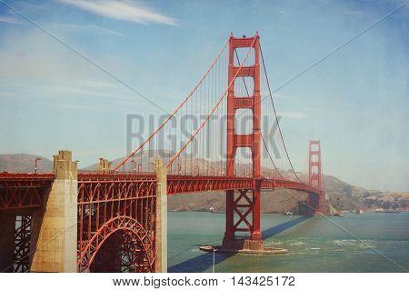 Golden Gate Bridge San Francisco USA. Retro filter effect