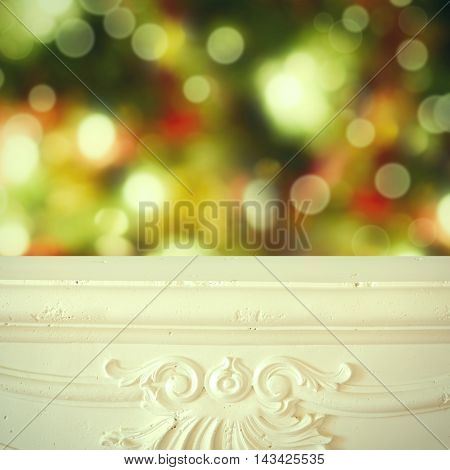 Christmas background. Fireplace shelf background for display montage of new product
