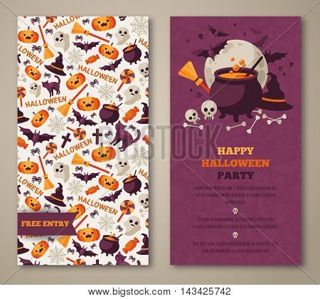 Halloween two sides poster, flyer or menu design. Vector illustration. Scary party invitation with witch hat, cauldron and pattern. Place for your text message.