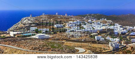 Amorgos island- panoramic view of Chora village. Greece, Cyclades