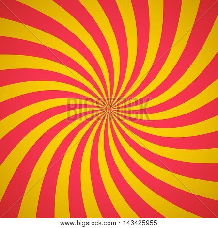 Swirling radial pattern background. Vector illustration for summer circus design. Vortex starburst spiral twirl square. Helix rotation rays. Converging yellow red stripes. Fun sun light beams.