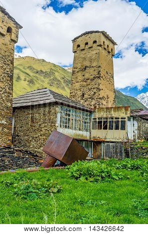 The highlanders of Svaneti live in medieval fortified houses with high towers Ushguli Georgia.