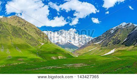 The hike to the Shkhara peak starts at the Enguri gorge Ushguli Upper Svaneti Georgia.