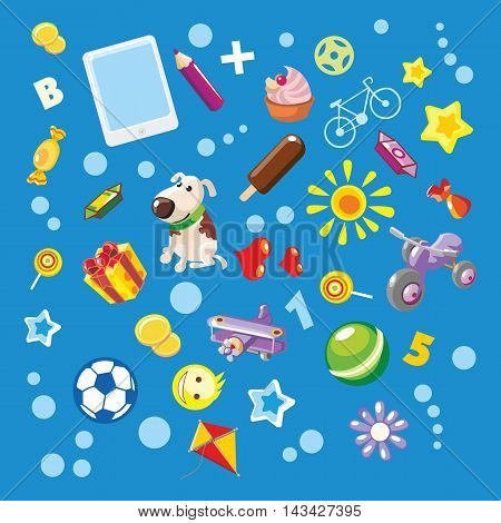 Blue background with baby elements. Vector illustration.