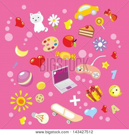 Pink background with baby elements. Vector illustration.