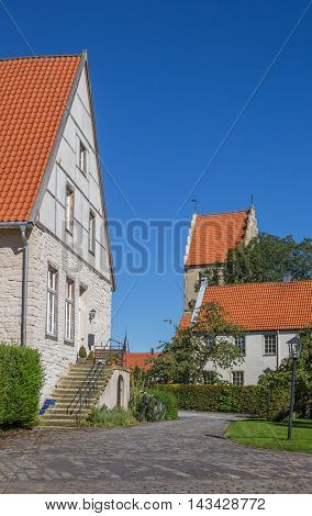 House And Church Tower In Steinfurt