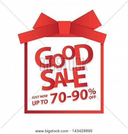 Good Sale Heading Design For Banner Or Poster. Sale And Discounts Concept. Vector Illustration.