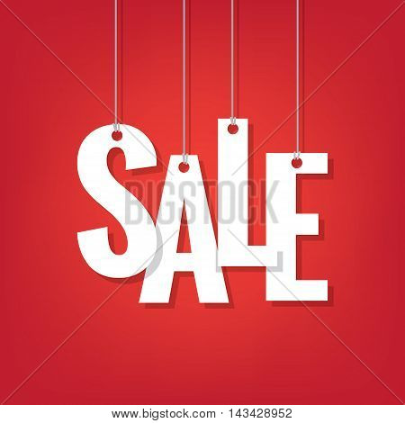 White Sale Hanging Mobile Heading Design On Red Backdround For Banner Or Poster. Sale And Discounts