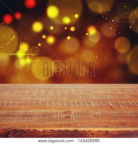 Christmas holiday background with empty wooden table for display montage