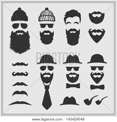 Vector constructor with different hipster glasses, beards, mustaches, ties and bow ties. Hipster design on gray background.