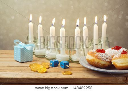Jewish holiday Hanukkah celebration on wooden table