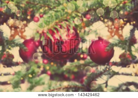 Christmas blur bokeh background with retro filter effect