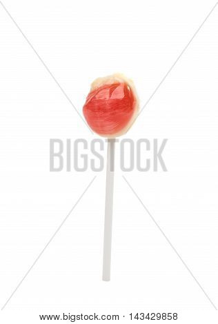 Strawberry candy lolly-pop isolated in white background
