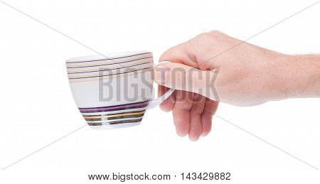 Ceramic Cup In Hand Isolated On White Background