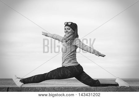 Woman Fitness Sport Girl Training Outdoor In Cold Weather