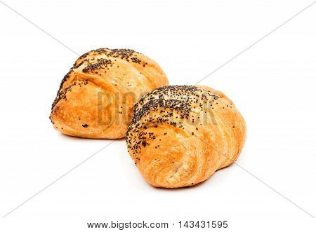small buttery golden croissant on white background