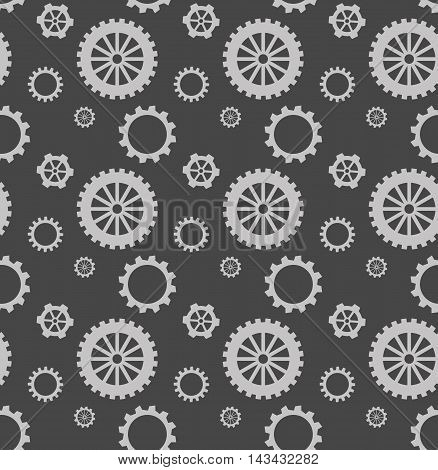 Monochrome pattern with gray gears. Vector illustration.