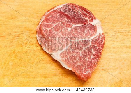 Juicy Piece Of Fresh Meat On A Wooden Background, Close-up