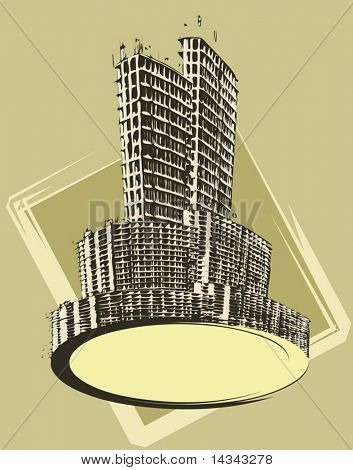 Vector illustration of a text banner with urban buildings