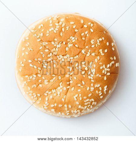 Close-up Of Burger Bun With Sesame Seeds
