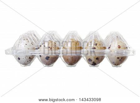 Pack Of Quail Eggs Isolated On White