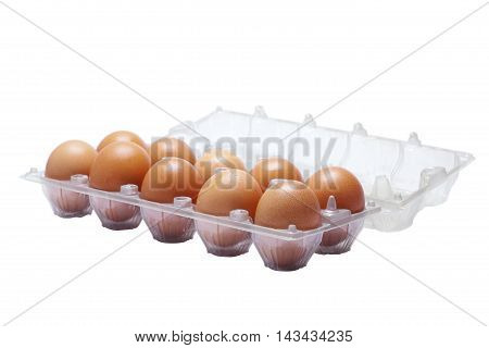 Pack Of Eggs On White Background