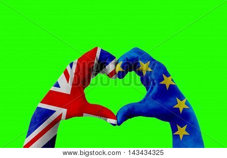 brexit hands of man in heart shape patterned with the flag of blue european union EU and flag of great britain uk on chroma key green screen background vote referendum for united kingdom exit concept