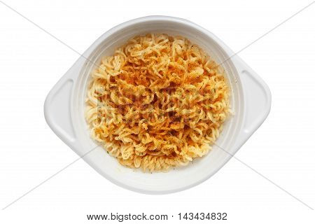 White Plastic Disposable Plate With Instant Noodles On A White B