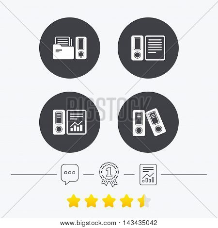 Accounting report icons. Document storage in folders sign symbols. Chat, award medal and report linear icons. Star vote ranking. Vector