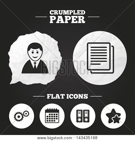 Crumpled paper speech bubble. Accounting workflow icons. Human silhouette, cogwheel gear and documents folders signs symbols. Paper button. Vector
