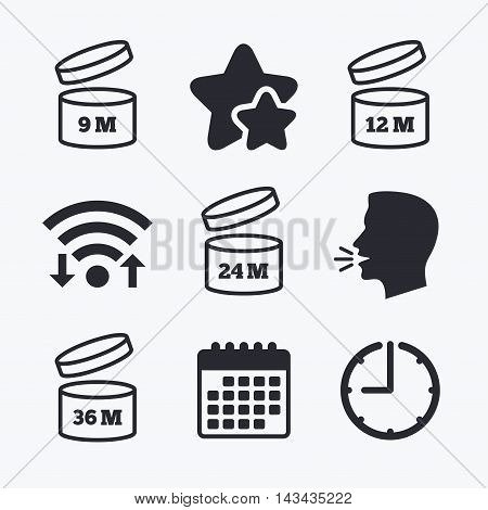 After opening use icons. Expiration date 9-36 months of product signs symbols. Shelf life of grocery item. Wifi internet, favorite stars, calendar and clock. Talking head. Vector
