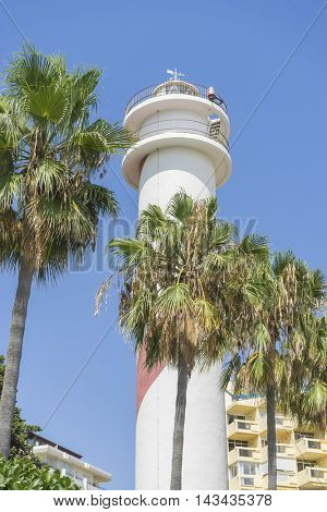 ocean lighthouse tower at the seaside of Marbella in Spain