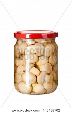Marinated Mushrooms In The Glass Jars Isolated On White