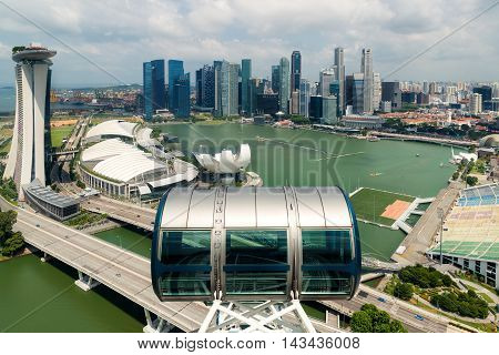 Aerial view of Singapore skyscraper in Singapore. Singapore cityscape.