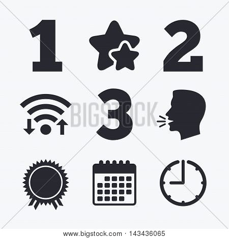First, second and third place icons. Award medal sign symbol. Wifi internet, favorite stars, calendar and clock. Talking head. Vector