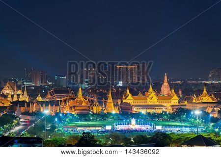 View of Temple of the Emerald Buddha in Bangkok Thailand. Wat Phra Kaew is one of the most popular tourists destination in BangkokThailand.