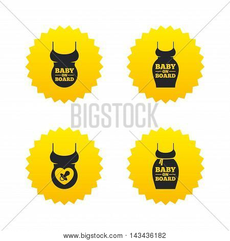 Baby on board icons. Infant caution signs. Child pacifier nipple. Pregnant woman dress with big belly. Yellow stars labels with flat icons. Vector
