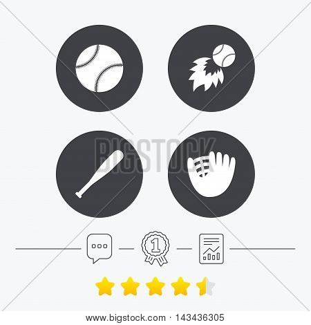 Baseball sport icons. Ball with glove and bat signs. Fireball symbol. Chat, award medal and report linear icons. Star vote ranking. Vector