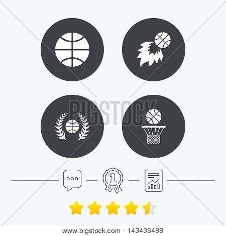 Basketball sport icons. Ball with basket and fireball signs. Laurel wreath symbol. Chat, award medal and report linear icons. Star vote ranking. Vector