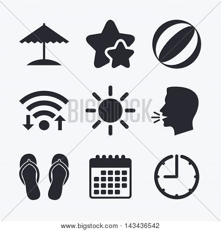 Beach holidays icons. Ball, umbrella and flip-flops sandals signs. Summer sun symbol. Wifi internet, favorite stars, calendar and clock. Talking head. Vector