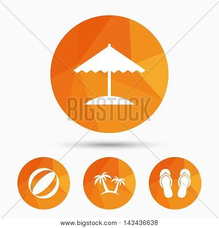 Beach holidays icons. Ball, umbrella and flip-flops sandals signs. Palm trees symbol. Triangular low poly buttons with shadow. Vector