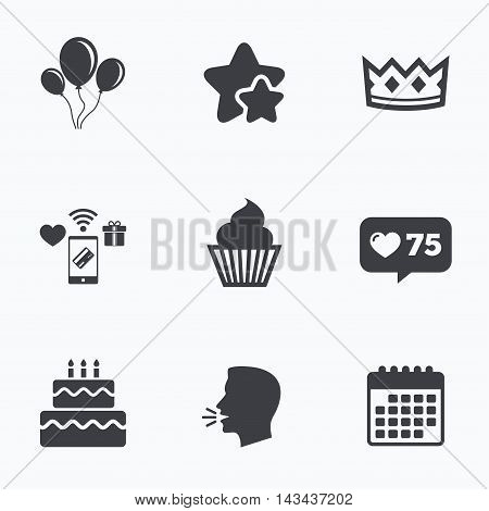 Birthday crown party icons. Cake and cupcake signs. Air balloons with rope symbol. Flat talking head, calendar icons. Stars, like counter icons. Vector