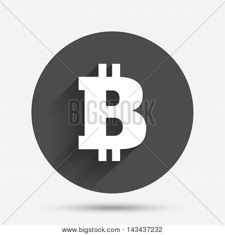 Bitcoin sign icon. Cryptography currency symbol. P2P. Circle flat button with shadow. Vector