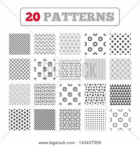 Ornament patterns, diagonal stripes and stars. Globe magnifier glass and cogwheel gear icons. Recycle bin delete and power sign symbols. Geometric textures. Vector