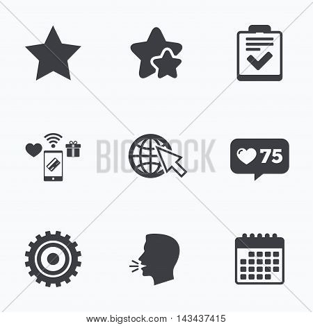 Star favorite and globe with mouse cursor icons. Checklist and cogwheel gear sign symbols. Flat talking head, calendar icons. Stars, like counter icons. Vector