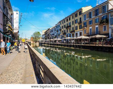 Naviglio Grande In Milan (hdr)