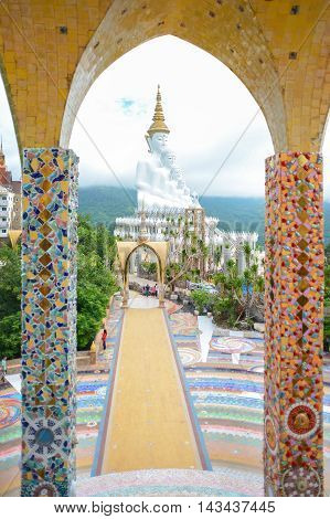 Giant white buddha at Wat Pha Sorn Kaew temple the public buddhist monastery and temple in Khao Kor Thailand