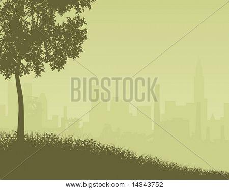 Ilustración editable vector de un horizonte lejano de la ciudad con el primer plano como un objeto separado